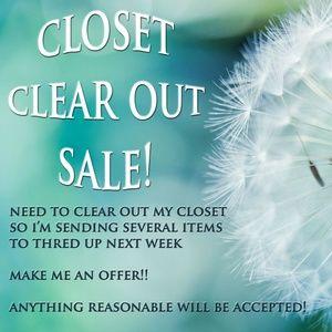 Closet Clear Out Sale!!